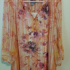 Ling sleeve sheer top with attached cami